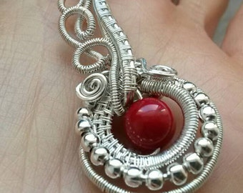 Pendant, pendant, wire wrapping, copper, red, stone, stone necklace, bohemian, gift, handmade, hippie, crafts,