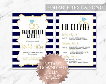 Bachelorette Party Invitation Template - INSTANT Download - Navy Stripes
