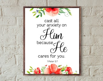 Bible verse printable wall art christian prints cast all your anxiety inspirational quote scripture prints download home decor faith prints