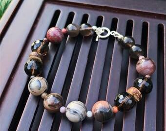 Petrified Wood Agate/Smoky Quartz/Ice Obsidian/925 Sterling Silver Yoga Mala Beaded Bracelet. Protection Bracelet.