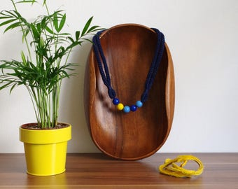 Blue Knitted Necklace with Yellow Accent, Simple Design, Knitted Necklace, Knitted Jewelry, Statement Necklace, Gift For Her