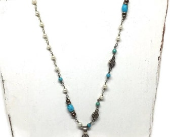 Barse Turquoise, Moonstone and Pearl Necklace