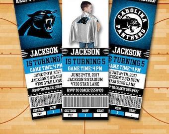 Carolina Panthers Invitation, Birthday Invitation, Football Invitation, Panthers Invite, Carolina Panthers, Sports Invitations star#30