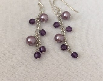 Lilac Pearl and Amethyst Earrings