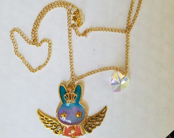 Winged bunny necklace