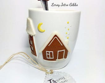 "Custom mug and spoon the ""Gingerbread houses in Winter "" Polymer clay sculpture decorated coffee mug handmade by Leroy Jetro Gibbs (LJG)"