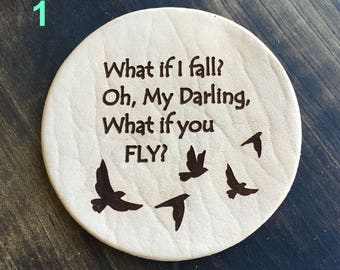 What If I fall? - Inspirational Quotes Leather Coasters