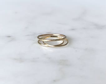 SOLID 14K GOLD - Simple Stacking RIng - Minimalist Ring - Midi Ring