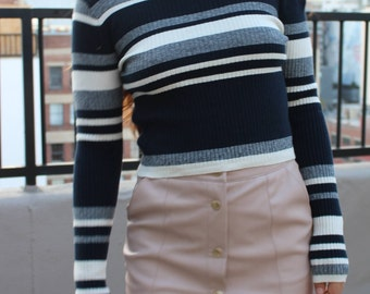 striped ribbed knit sweater crop top blue white