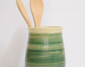 Stoneware Pottery Crock, Handmade, Green/Turquoise Crackle