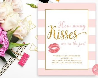 How Many Kisses Game - Guess the Hershey Kisses - Pink and Gold - Hershey Kiss Game - Bridal Shower Table Signs - Instant Download - RS001