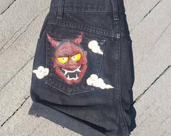 Japanese Hannya Painted Shorts