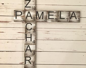 Scrabble Letter | Wood Tiles | Scrabble Tiles | Small and Large Letter Sizes | Stained, hand painted, Wood Pieces | Housewarming Gift |