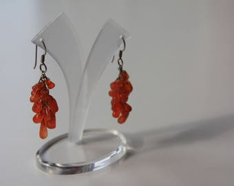 Carnelian cluster earrings from Cambodia (only 1 pair available)