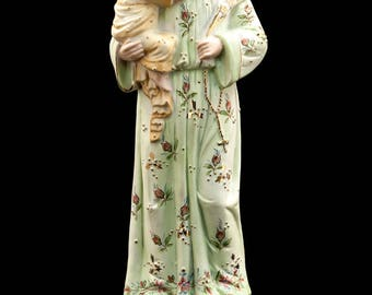 "13"" Large Antique Saint Anthony with Child Jesus Bisque Porcelain Statue Baby Figure"
