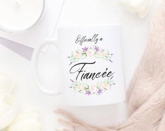 Officially A Fiancee Mug, Fiancee Mug, Fiance Mug, Bridal Shower Mug, Bridal Shower Gift,Engagement Announcement Mug,Newly Engaged Gift