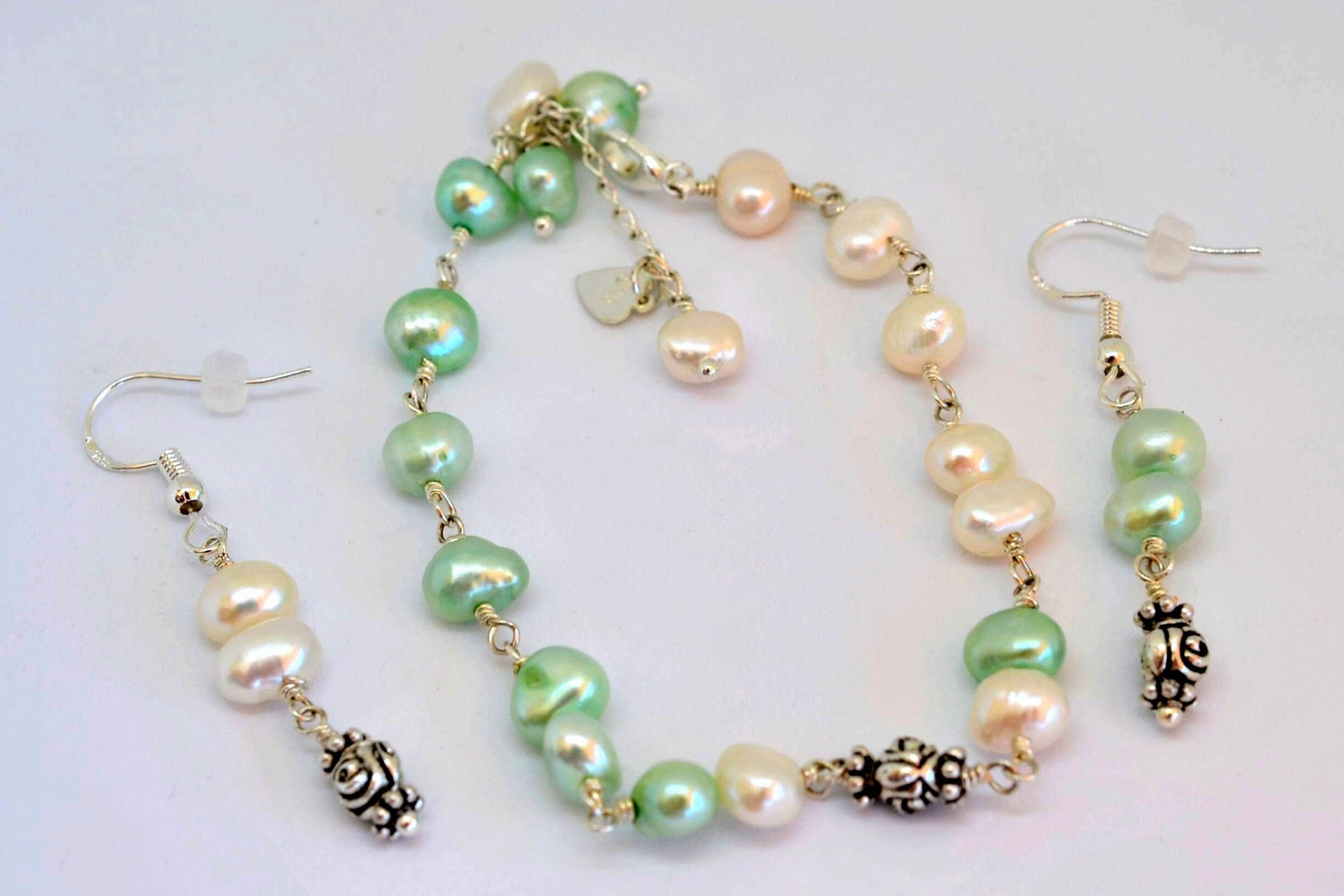earrings bracelet p ooak mismatched il fullxfull set freshwater pearl