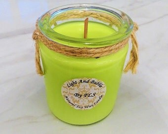 Green soy candle - wooden wick - Flax flower fragrance