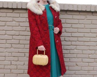 Vintage 60s wool coat rabbit fur collar