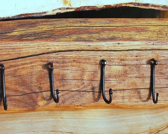 Rustic solid oak decorative coat rack