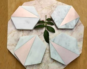 Rose Gold Decor, Rose Gold Decor for Wedding, Rose Gold Coasters, Marble and Rose Gold, Rose Gold Gift, Marble Decor, Marble Coasters