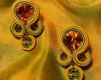 Earrings green-yellow