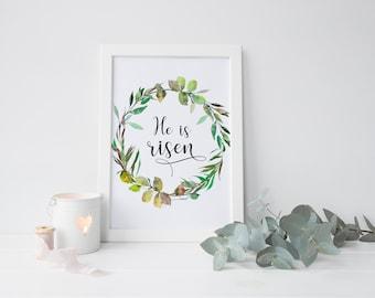 He is risen printable Easter wall decor,bible verse,Easter printable art,scripture verse,printable decor,Matthew 28:6,holiday art,Easter art