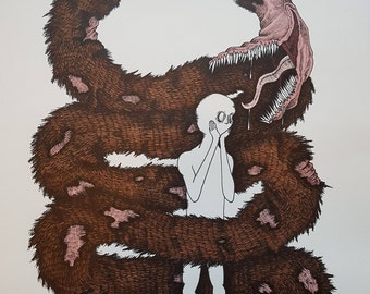 The Anxiety Monster - Art, Artwork, Illustration, Original, Promarker, Fine Liner, Marker, Creepy, Mental Health.