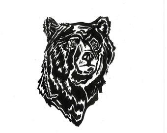 Kodiak Bear, Menagerie - Original ink line drawing  // 8.3x5.8 line art by Eloise Reeves