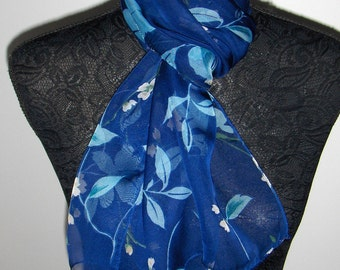 Vintage Lindex blue scarf with flowers/ See-through scarf/ Scandinavian scarf