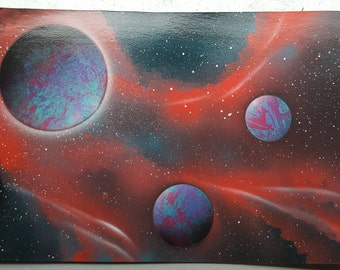 "Ether   15"" x 22"" Spray Paint Art"