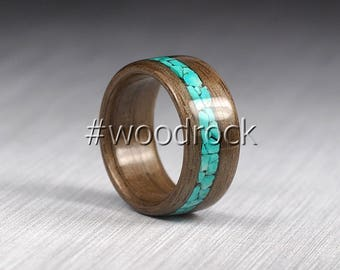 Bentwood Ring Natural Walnut - Ring with Big Turquoise Inlay - Men's Wooden Ring - Women's Wooden Ring - Wood Wedding Ring - Custom Made