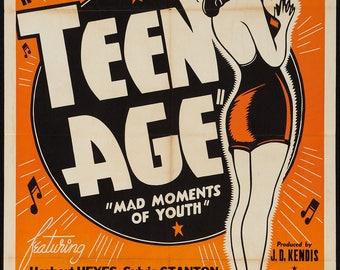 "Vintage movie ""Teenage"" in A3 size poster."