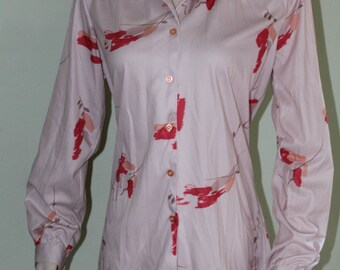 """Plus size Vintage 1970's groovy graphic shirt,42"""" bust"""