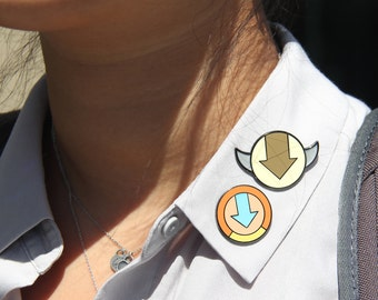 Aang and Appa - AVATAR - Minimalist Enamel Pins - GLOW in the DARK