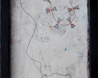 fly... lovers, kite, original artwork, mixed media, long