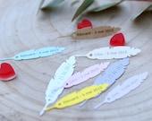"Custom label christening pattern ""Feather"" white, ivory, kraft, blue, pink etc. Set of 10/30/50/80/100/125/150"