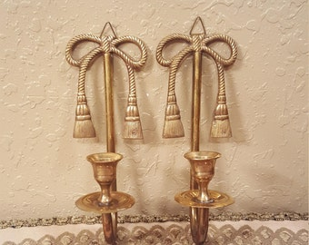 Set of 2 vintage brass rope bow and tassel wall sconces.  Retro brass wall sconces candleholders
