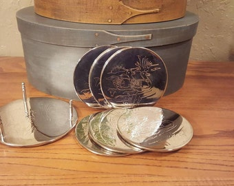 Vintage silver plated duck scene coaster set with caddy.  Round coasters / Vintage silver / Bar coasters / duck coasters