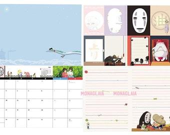 Studio Ghibli 2018 Planner Schedule Diary Book / Kawaii Japanese Anime Cartoon Film Calendar Memo Pads Sticker Gift School Disney