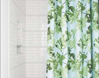 fig leaf shower curtain fabric tropical shower curtain green white blue extra long shower curtain palm