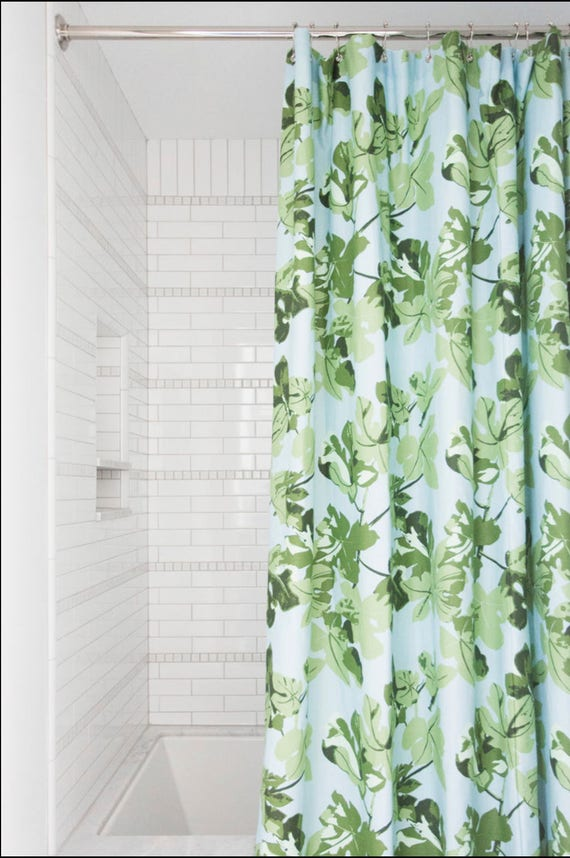 Fig Leaf Shower Curtain Fabric Tropical Shower Curtain Green