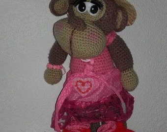 Monkey Hat crocheted wool 38 cm