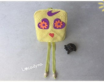 Emoticon wall Decoration bedroom child Crochet Cotton, foam rubber-yellow Orange Purple gift, birthday party-Hand Made Emoticon