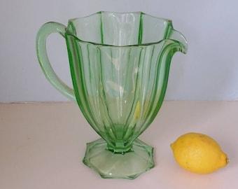 A Wonderful Lime Green Glass Jug