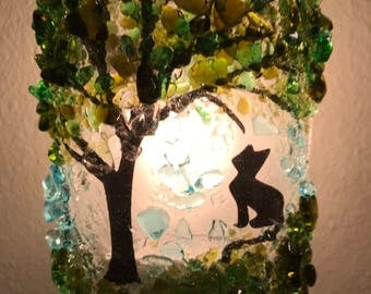 Recycled Night Light with Cat and Tree Design