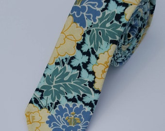 Skinny, Necktie, Handmade, Wedding, Slim, Floral, Blue Floral, Yellow Floral, Aqua Floral, Father's Day Gift, Men's Gift, Missionary Tie