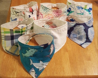 Pick Your Own Set of 2, 3, or 5 Girl's Bandanna Bibs/Drool Bibs