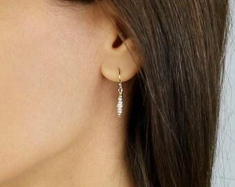Tiny Pearl Earrings - Dainty Pearl Drop Earrings - Pearl Dangle Earrings - Seed Pearl Earrings - June Earrings - Bridal Earrings - Pearl Bar