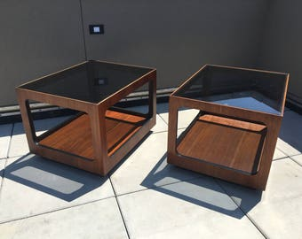 MidCentury Smoke Glass Tables